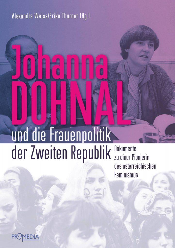 Buchcover mit Titel des Buches und Bildern von Johanna Dohnal sowie demonstrierenden Frauen*